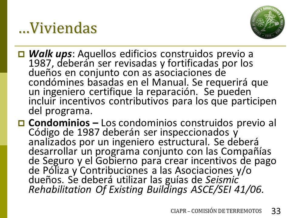 CIAPR – COMISIÓN DE TERREMOTOS 33 …Viviendas Walk ups: Aquellos edificios construidos previo a 1987, deberán ser revisadas y fortificadas por los dueñ