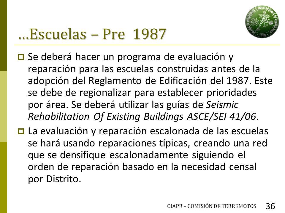 …Escuelas – Pre 1987 Se deberá hacer un programa de evaluación y reparación para las escuelas construidas antes de la adopción del Reglamento de Edifi