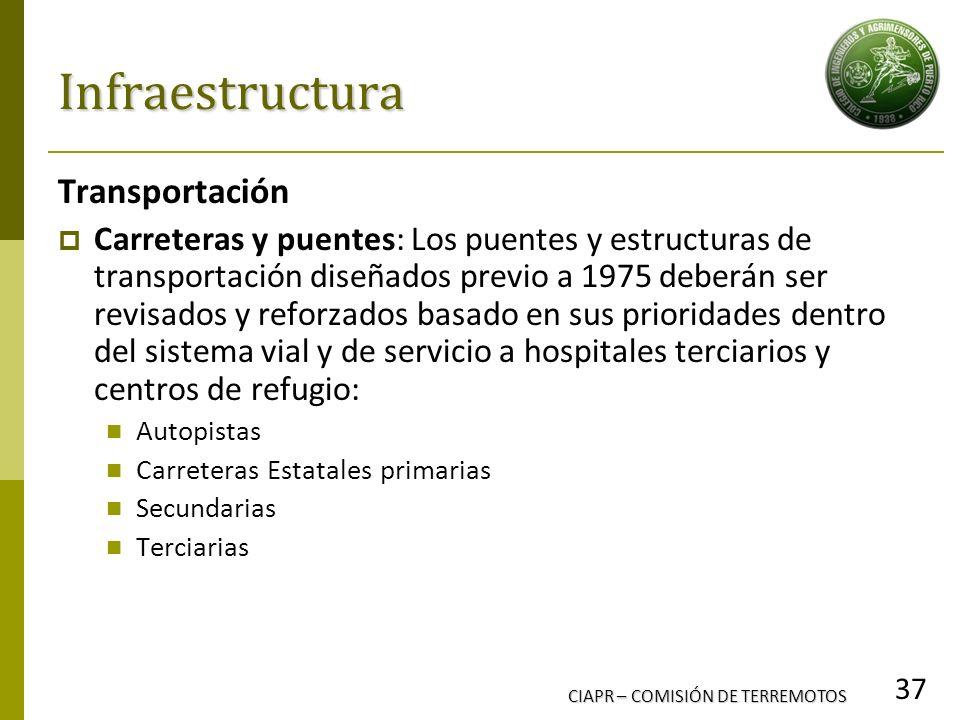 CIAPR – COMISIÓN DE TERREMOTOS 37 Infraestructura Transportación Carreteras y puentes: Los puentes y estructuras de transportación diseñados previo a