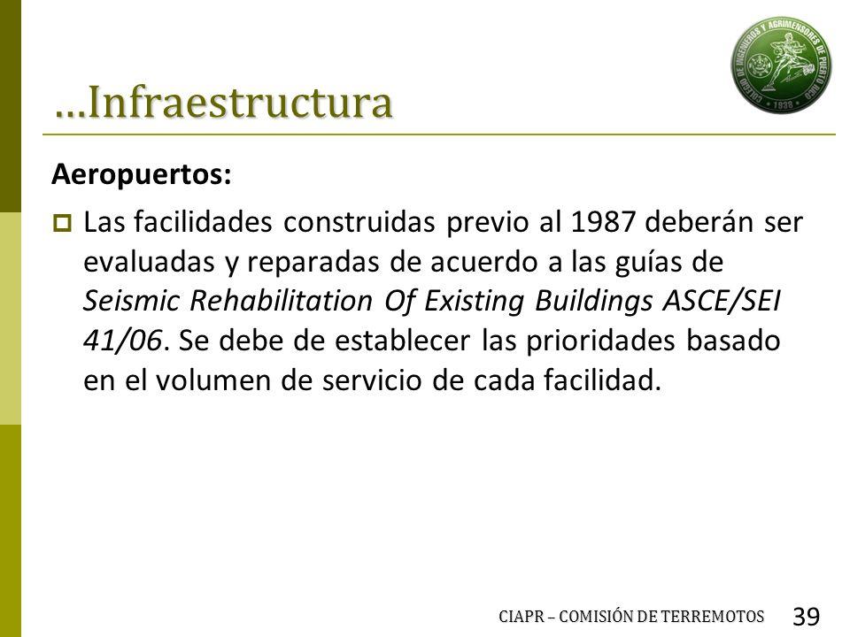 …Infraestructura Aeropuertos: Las facilidades construidas previo al 1987 deberán ser evaluadas y reparadas de acuerdo a las guías de Seismic Rehabilit