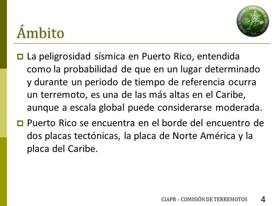 Ámbito La peligrosidad sísmica en Puerto Rico, entendida como la probabilidad de que en un lugar determinado y durante un periodo de tiempo de referen