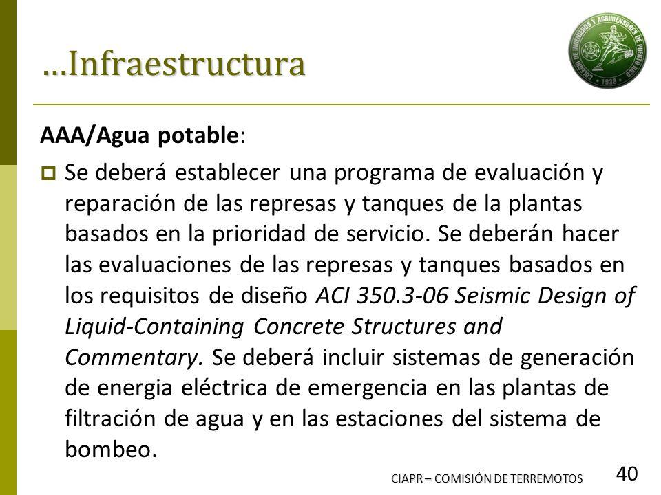 CIAPR – COMISIÓN DE TERREMOTOS 40 …Infraestructura AAA/Agua potable: Se deberá establecer una programa de evaluación y reparación de las represas y ta