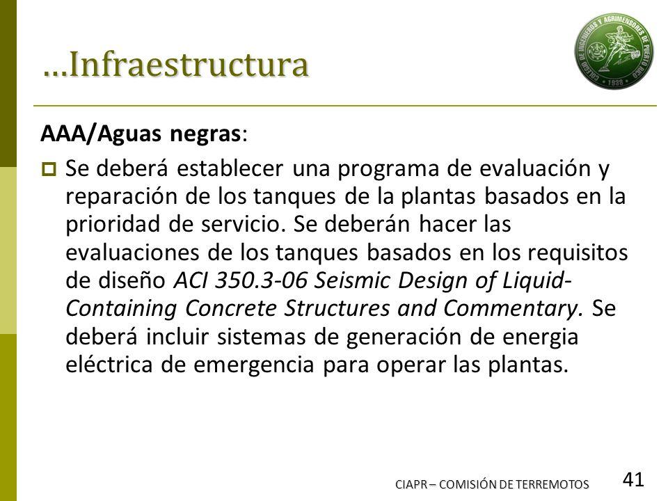 CIAPR – COMISIÓN DE TERREMOTOS 41 …Infraestructura AAA/Aguas negras: Se deberá establecer una programa de evaluación y reparación de los tanques de la