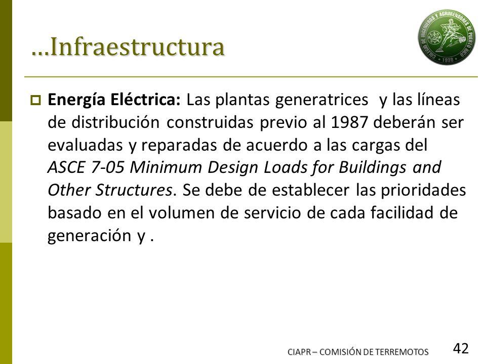 CIAPR – COMISIÓN DE TERREMOTOS 42 …Infraestructura Energía Eléctrica: Las plantas generatrices y las líneas de distribución construidas previo al 1987