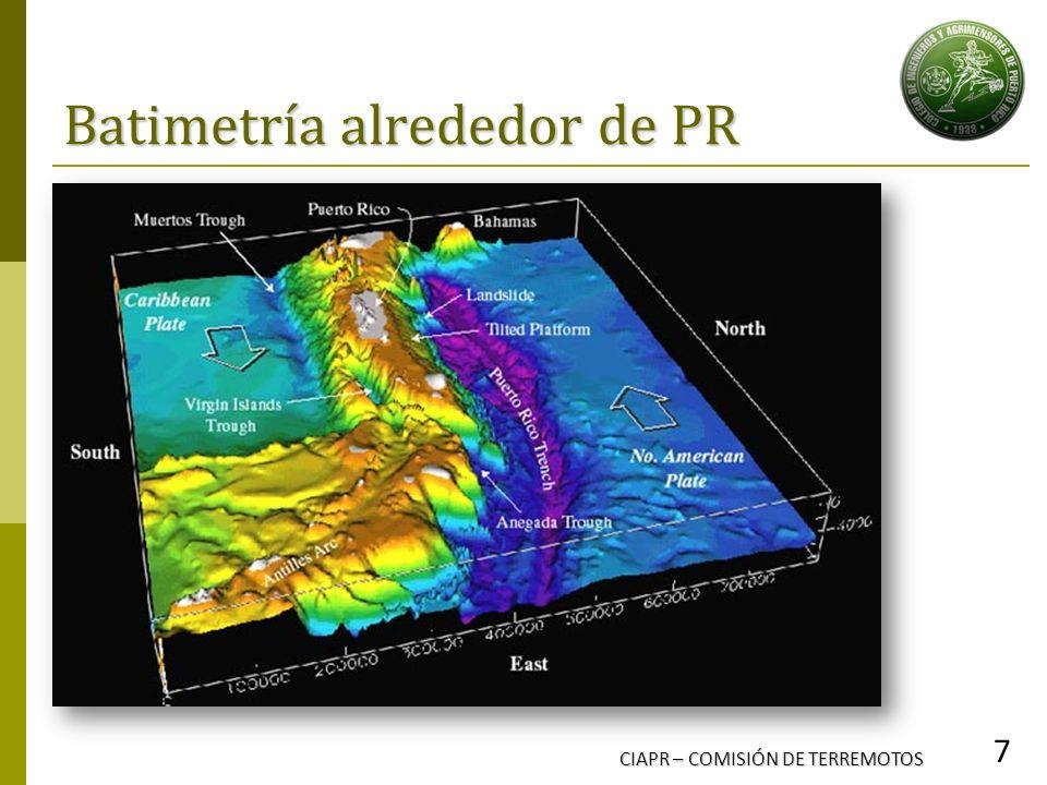 Batimetría alrededor de PR CIAPR – COMISIÓN DE TERREMOTOS 7