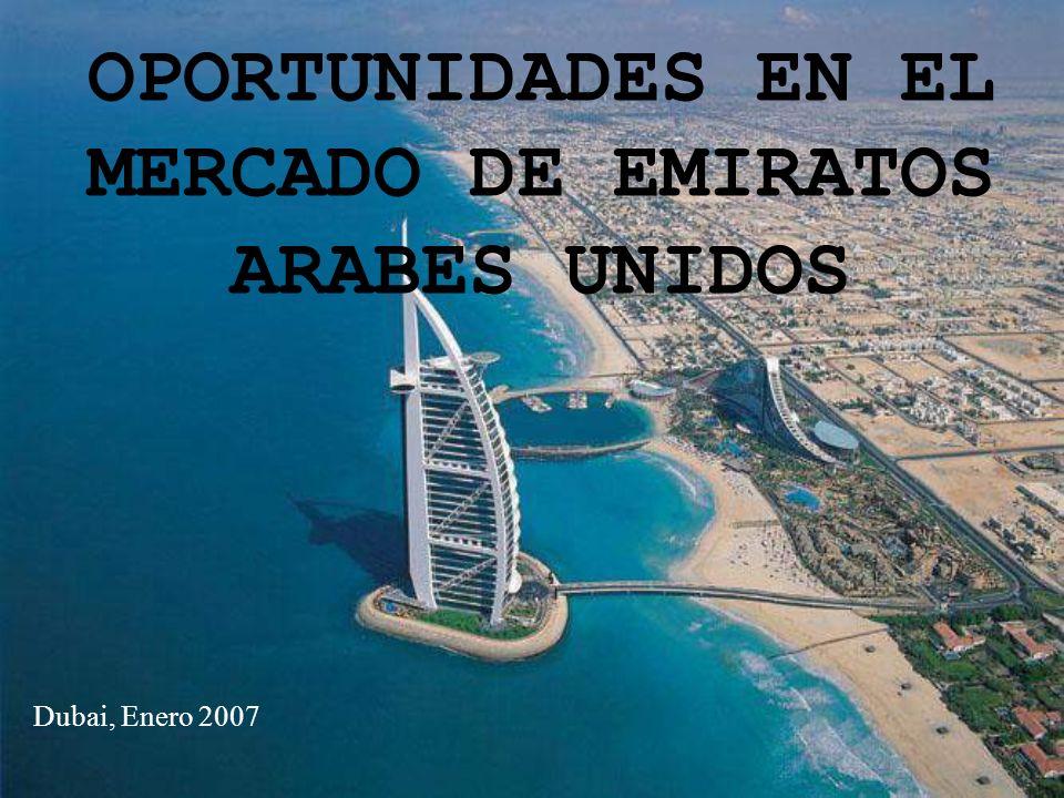 2 Extensión EAU 83.600 km 2 = Andalucía o 10 veces CM 85% territorio de Abu Dhabi / Dubai el 5%=la mitad de la CM Población 4,9 a 6 mlls hab/ 7 Emiratos Población Urbana 87,2%, concentrada en la costa Clima Nov-AbrilMayo-Octubre 19ºC-23º32ºC-38º LenguasÁrabe/Inglés aceptado como idioma de negocios Madrid 8.028 Km² (1,6 %) Aragón 47.719 Km² (9,4%) Navarra 10.391 Km² (2,2%) País Vasco 7.234 Km² (1,4%)