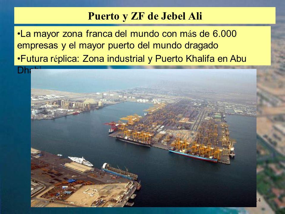 14 Puerto y ZF de Jebel Ali La mayor zona franca del mundo con m á s de 6.000 empresas y el mayor puerto del mundo dragado Futura r é plica: Zona indu