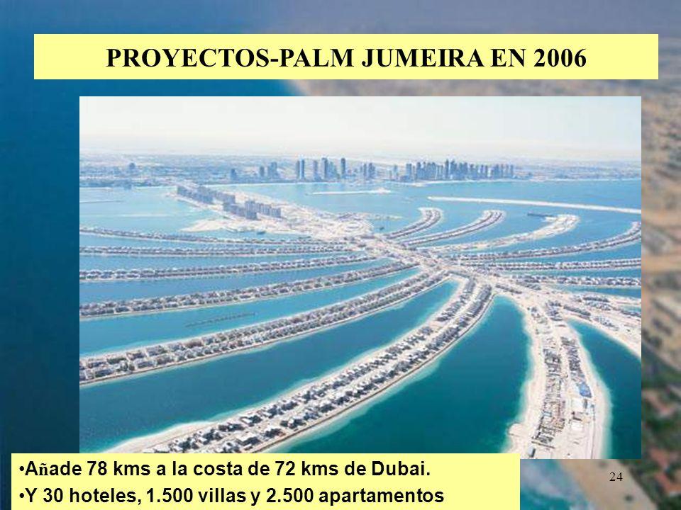 24 PROYECTOS-PALM JUMEIRA EN 2006 A ñ ade 78 kms a la costa de 72 kms de Dubai. Y 30 hoteles, 1.500 villas y 2.500 apartamentos