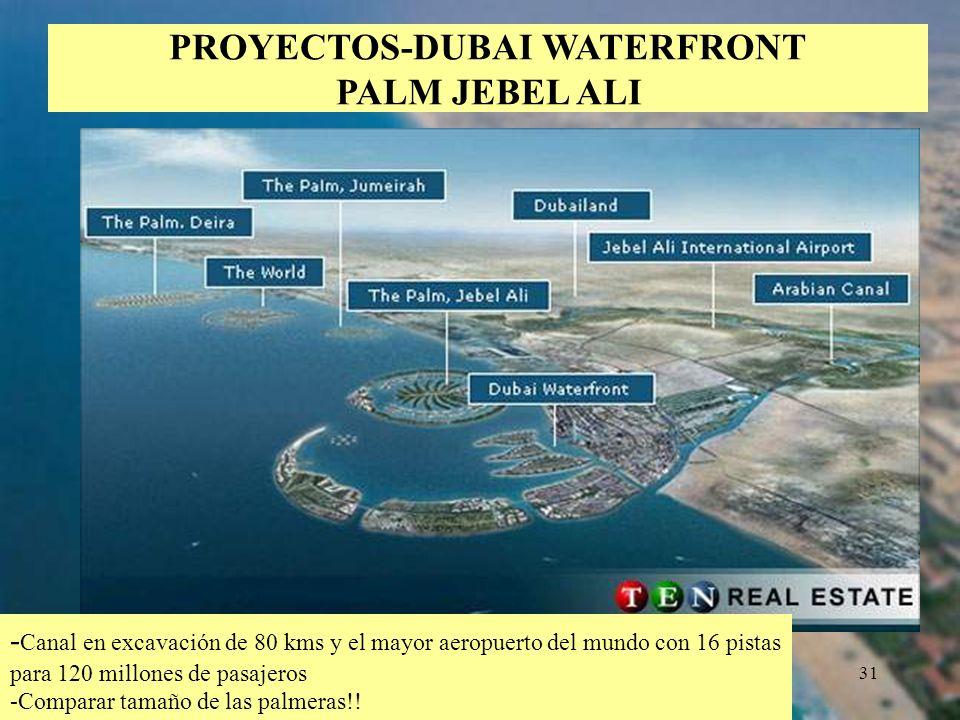 31 PROYECTOS-DUBAI WATERFRONT PALM JEBEL ALI - Canal en excavación de 80 kms y el mayor aeropuerto del mundo con 16 pistas para 120 millones de pasaje