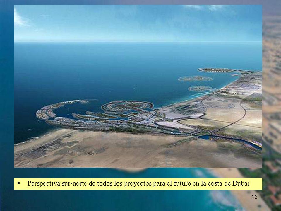 32 Perspectiva sur-norte de todos los proyectos para el futuro en la costa de Dubai