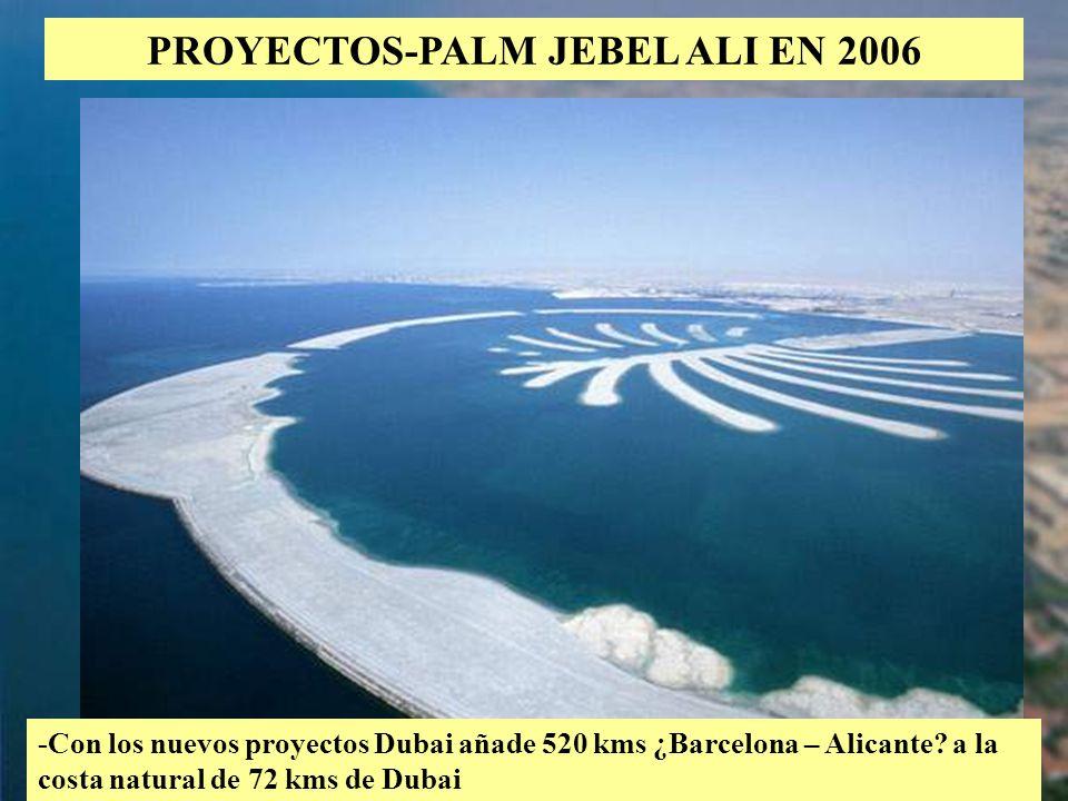 33 PROYECTOS-PALM JEBEL ALI EN 2006 -Con los nuevos proyectos Dubai añade 520 kms ¿Barcelona – Alicante? a la costa natural de 72 kms de Dubai