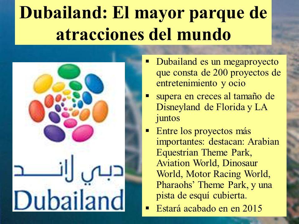 37 Dubailand es un megaproyecto que consta de 200 proyectos de entretenimiento y ocio supera en creces al tamaño de Disneyland de Florida y LA juntos