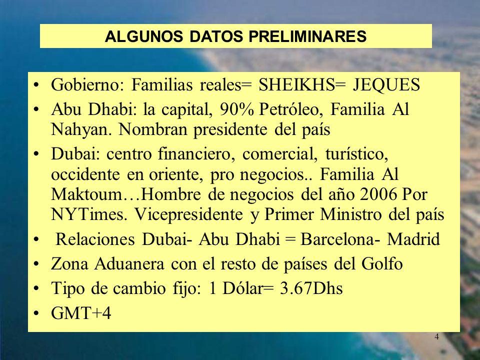 4 Gobierno: Familias reales= SHEIKHS= JEQUES Abu Dhabi: la capital, 90% Petróleo, Familia Al Nahyan. Nombran presidente del país Dubai: centro financi