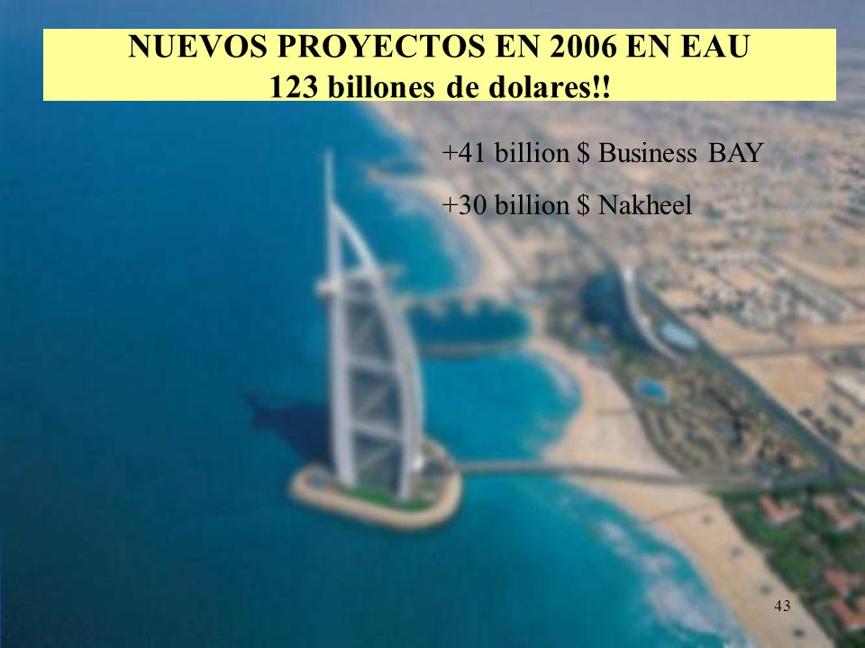 43 NUEVOS PROYECTOS EN 2006 EN EAU 123 billones de dolares!! +41 billion $ Business BAY +30 billion $ Nakheel
