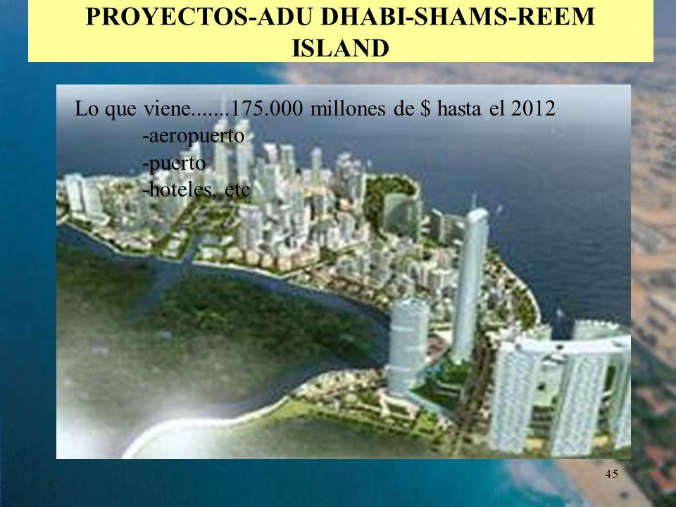 45 PROYECTOS-ADU DHABI-SHAMS-REEM ISLAND Lo que viene.......175.000 millones de $ hasta el 2012 -aeropuerto -puerto -hoteles, etc