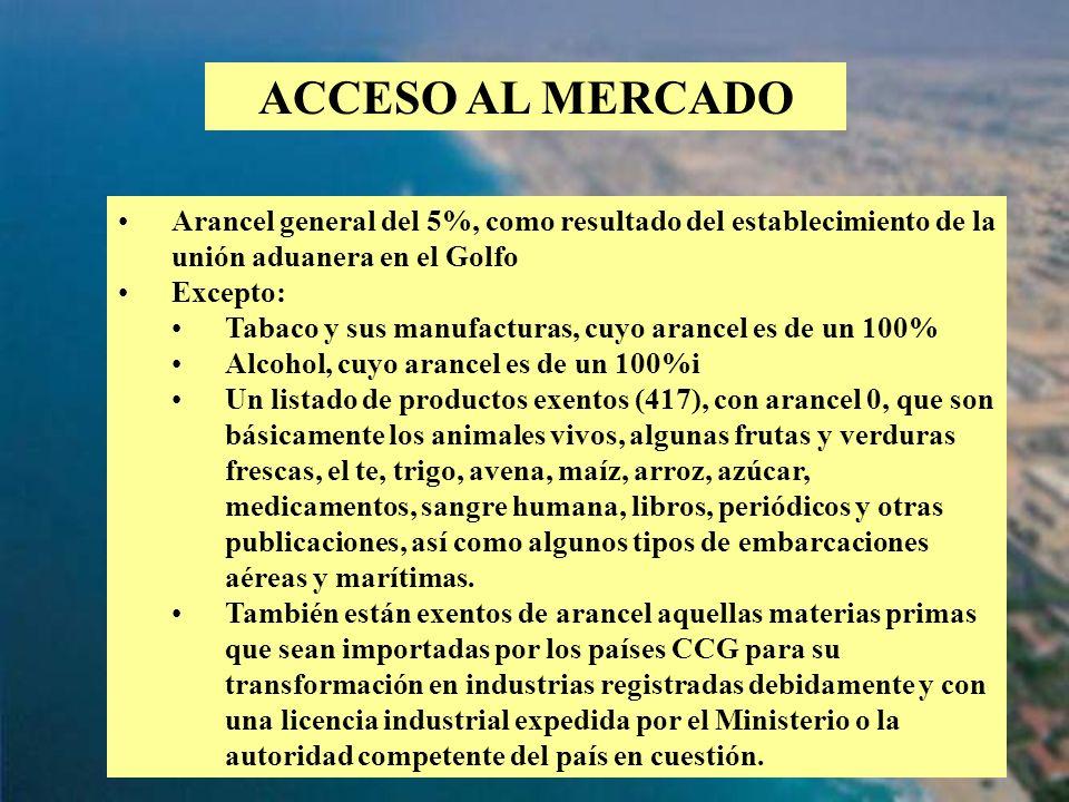 58 ACCESO AL MERCADO Arancel general del 5%, como resultado del establecimiento de la unión aduanera en el Golfo Excepto: Tabaco y sus manufacturas, c