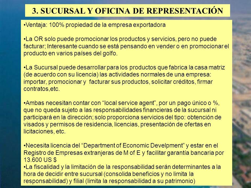 64 3. SUCURSAL Y OFICINA DE REPRESENTACIÓN Ventaja: 100% propiedad de la empresa exportadora La OR solo puede promocionar los productos y servicios, p