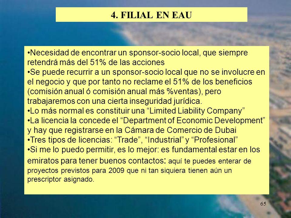 65 4. FILIAL EN EAU Necesidad de encontrar un sponsor-socio local, que siempre retendrá más del 51% de las acciones Se puede recurrir a un sponsor-soc