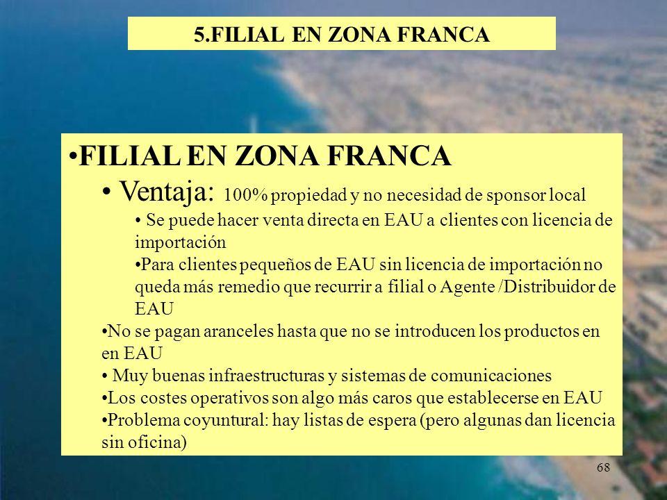 68 5.FILIAL EN ZONA FRANCA FILIAL EN ZONA FRANCA Ventaja: 100% propiedad y no necesidad de sponsor local Se puede hacer venta directa en EAU a cliente