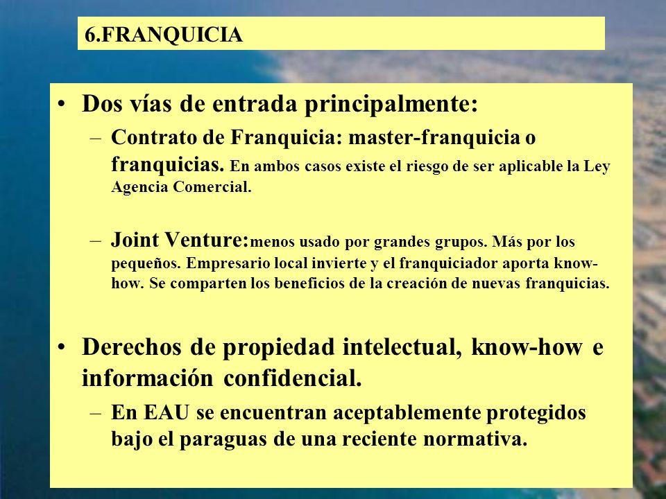 72 Dos vías de entrada principalmente: –Contrato de Franquicia: master-franquicia o franquicias. En ambos casos existe el riesgo de ser aplicable la L