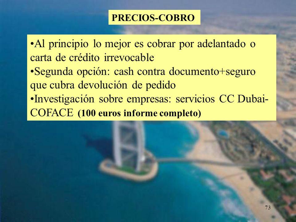 73 PRECIOS-COBRO Al principio lo mejor es cobrar por adelantado o carta de crédito irrevocable Segunda opción: cash contra documento+seguro que cubra
