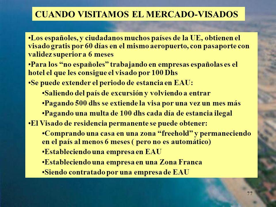 77 CUANDO VISITAMOS EL MERCADO-VISADOS Los españoles, y ciudadanos muchos países de la UE, obtienen el visado gratis por 60 días en el mismo aeropuert