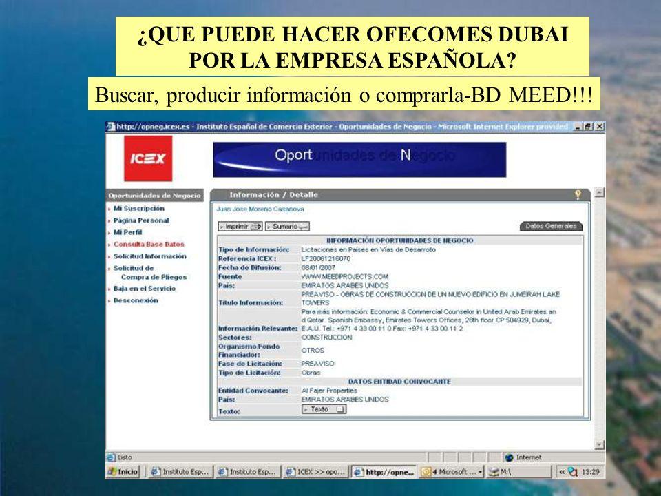 82 ¿QUE PUEDE HACER OFECOMES DUBAI POR LA EMPRESA ESPAÑOLA? Buscar, producir información o comprarla-BD MEED!!!