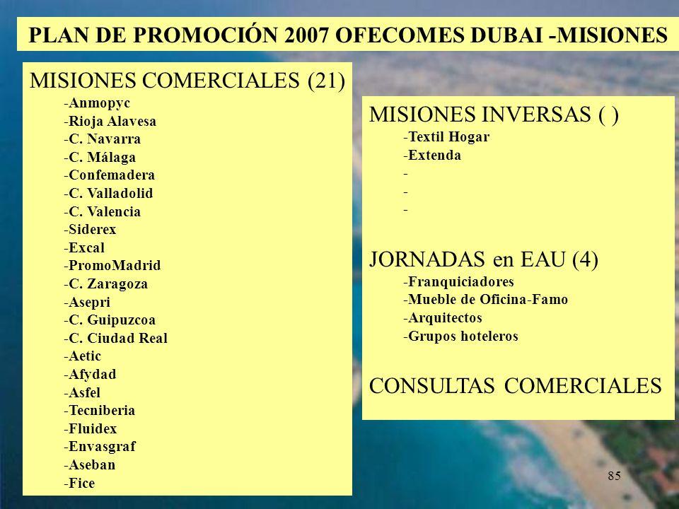85 PLAN DE PROMOCIÓN 2007 OFECOMES DUBAI -MISIONES MISIONES INVERSAS ( ) -Textil Hogar -Extenda - JORNADAS en EAU (4) -Franquiciadores -Mueble de Ofic