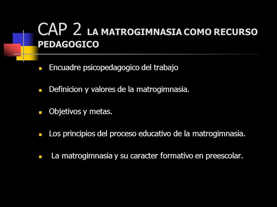 CAP 2 LA MATROGIMNASIA COMO RECURSO PEDAGOGICO Encuadre psicopedagogico del trabajo Definicion y valores de la matrogimnasia. Objetivos y metas. Los p