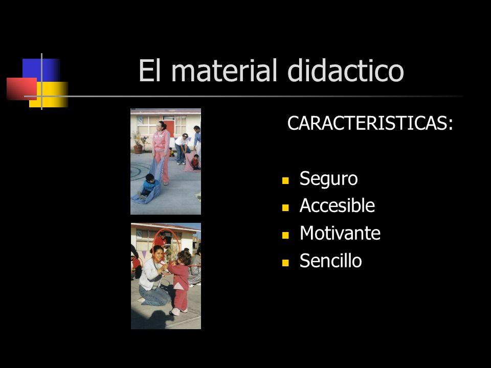 El material didactico CARACTERISTICAS: Seguro Accesible Motivante Sencillo