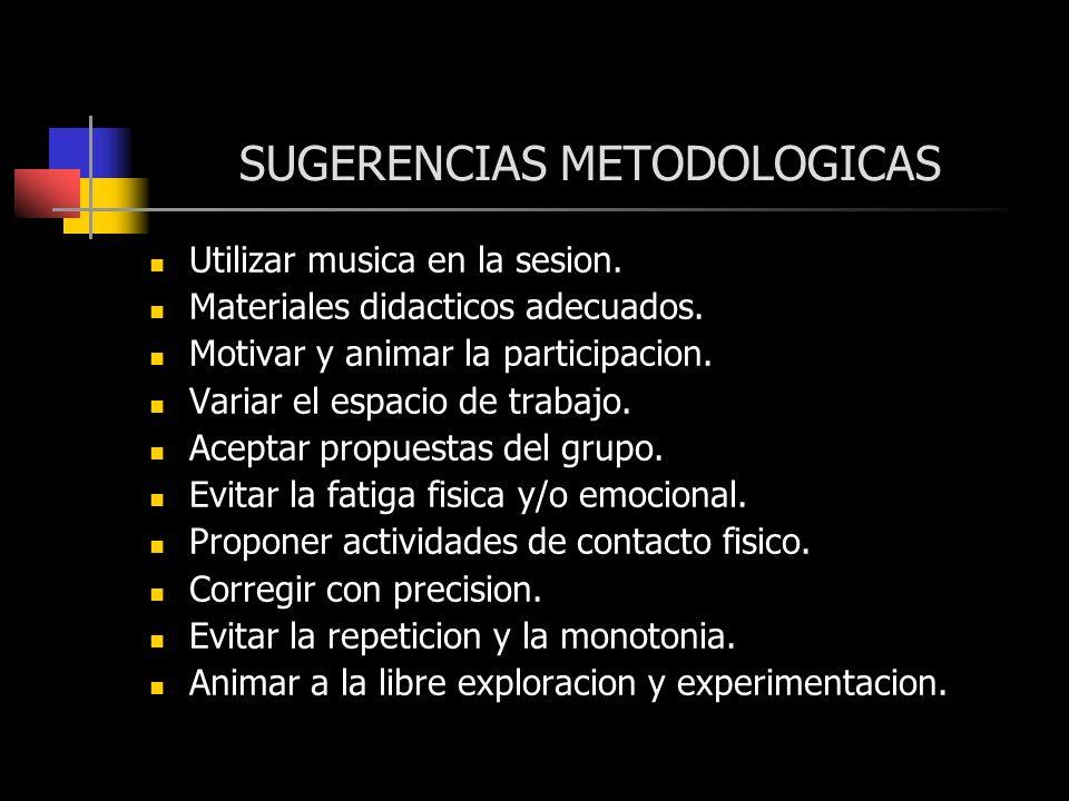 SUGERENCIAS METODOLOGICAS Utilizar musica en la sesion. Materiales didacticos adecuados. Motivar y animar la participacion. Variar el espacio de traba