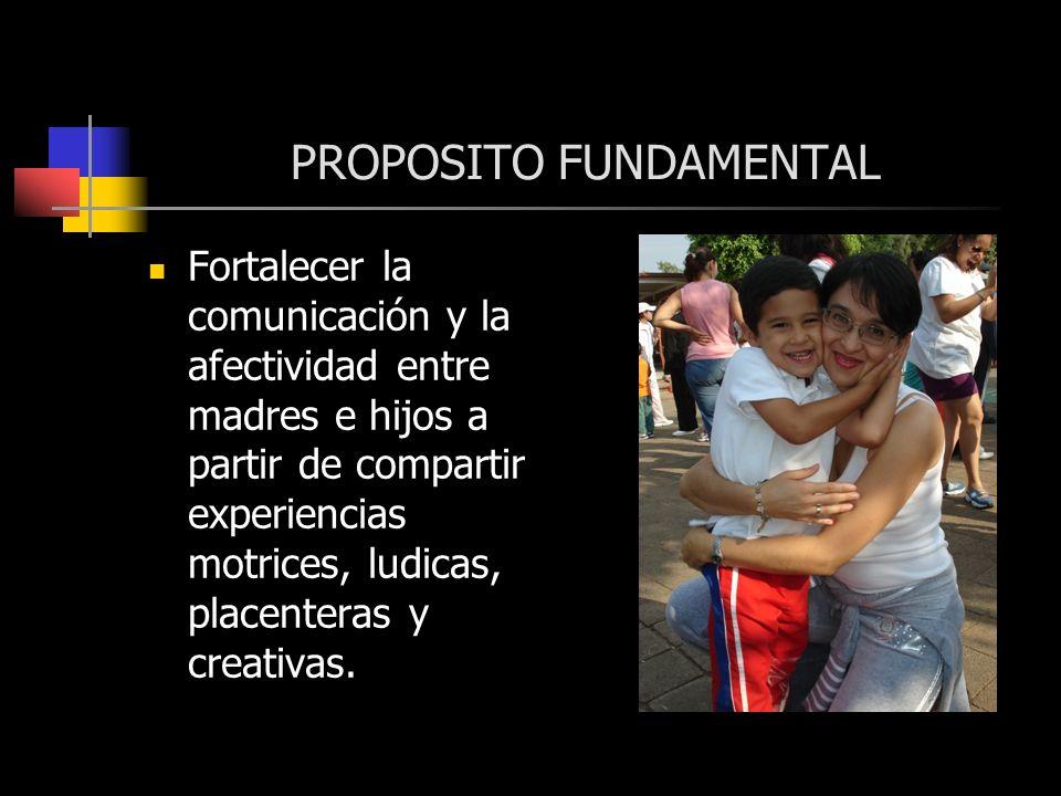 PROPOSITO FUNDAMENTAL Fortalecer la comunicación y la afectividad entre madres e hijos a partir de compartir experiencias motrices, ludicas, placenter