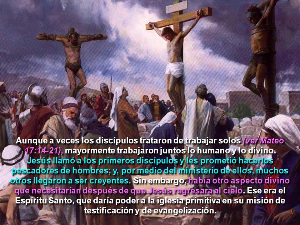 Aunque a veces los discípulos trataron de trabajar solos (ver Mateo 17:14-21), mayormente trabajaron juntos lo humano y lo divino. Jesús llamó a los p