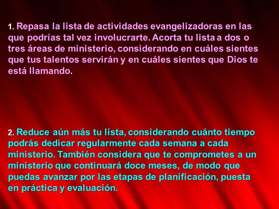 1. Repasa la lista de actividades evangelizadoras en las que podrías tal vez involucrarte. Acorta tu lista a dos o tres áreas de ministerio, considera