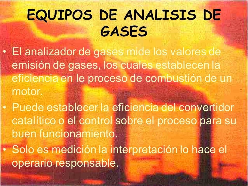EQUIPOS DE ANALISIS DE GASES El analizador de gases mide los valores de emisión de gases, los cuales establecen la eficiencia en le proceso de combust