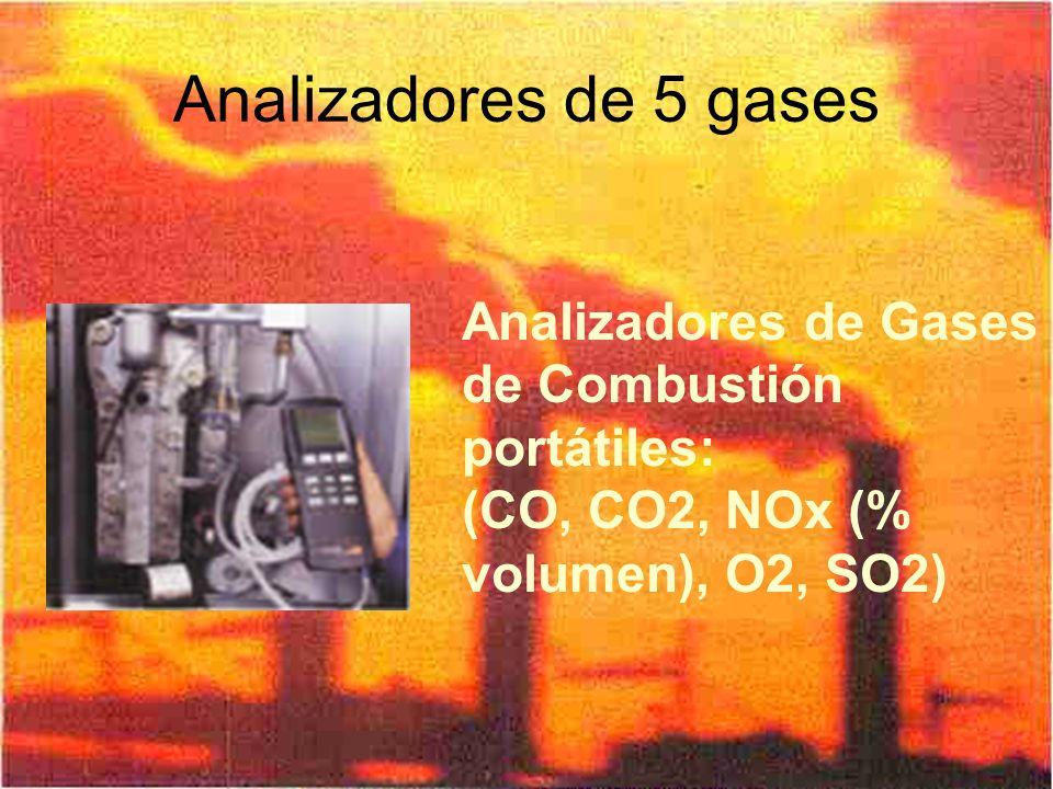 Analizadores de 5 gases Analizadores de Gases de Combustión portátiles: (CO, CO2, NOx (% volumen), O2, SO2)