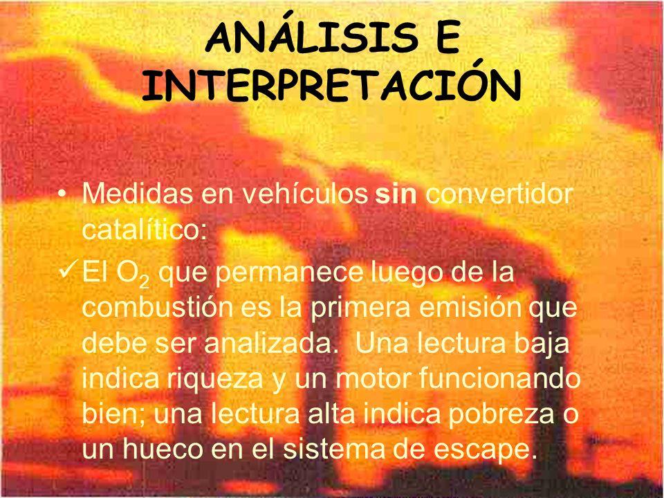ANÁLISIS E INTERPRETACIÓN Medidas en vehículos sin convertidor catalítico: El O 2 que permanece luego de la combustión es la primera emisión que debe