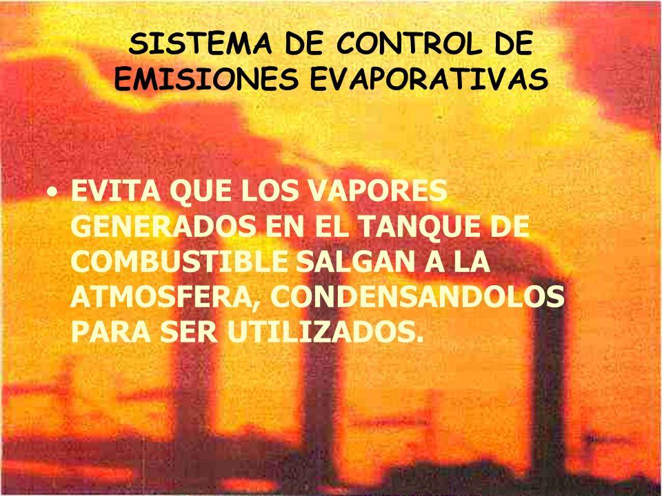 SISTEMA DE CONTROL DE EMISIONES EVAPORATIVAS EVITA QUE LOS VAPORES GENERADOS EN EL TANQUE DE COMBUSTIBLE SALGAN A LA ATMOSFERA, CONDENSANDOLOS PARA SE