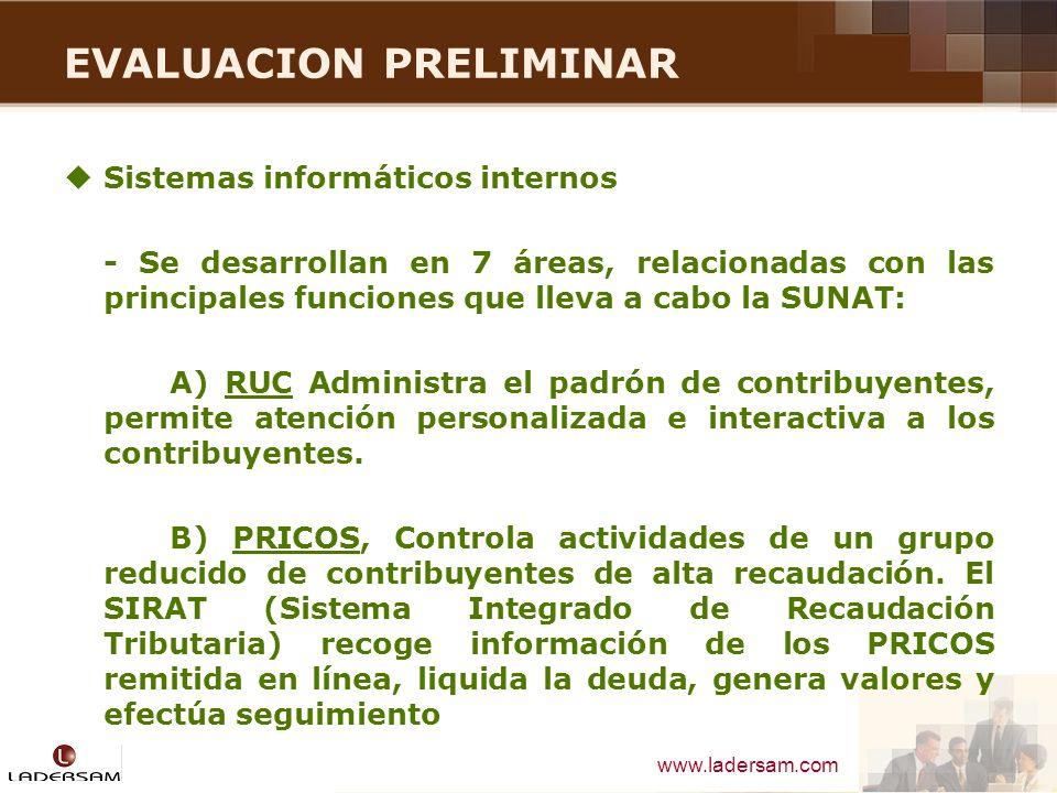 www.ladersam.com EVALUACION PRELIMINAR Sistemas informáticos internos - Se desarrollan en 7 áreas, relacionadas con las principales funciones que llev