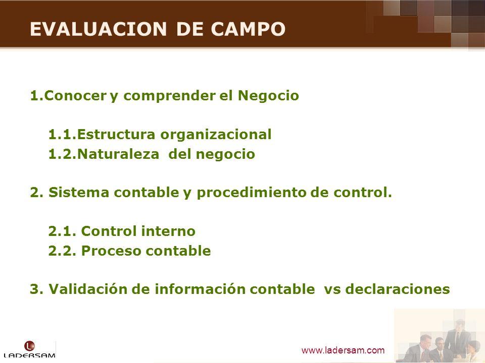 www.ladersam.com EVALUACION DE CAMPO 1.Conocer y comprender el Negocio 1.1.Estructura organizacional 1.2.Naturaleza del negocio 2. Sistema contable y