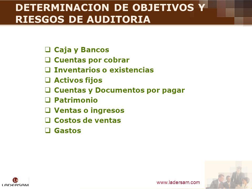 www.ladersam.com DETERMINACION DE OBJETIVOS Y RIESGOS DE AUDITORIA Caja y Bancos Cuentas por cobrar Inventarios o existencias Activos fijos Cuentas y