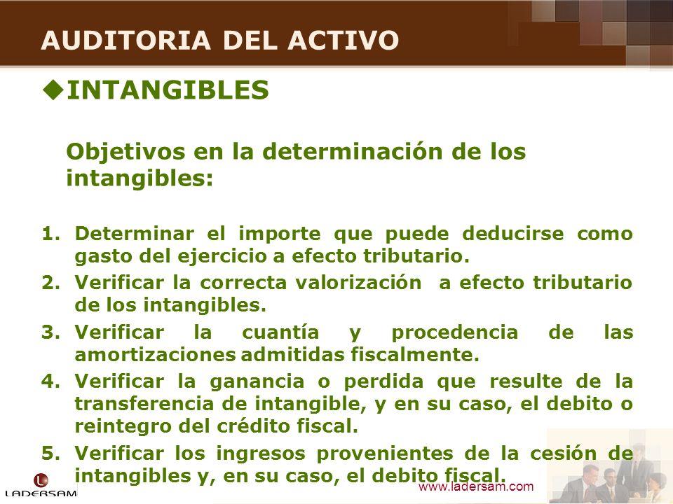 www.ladersam.com AUDITORIA DEL ACTIVO INTANGIBLES Objetivos en la determinación de los intangibles: 1.Determinar el importe que puede deducirse como g