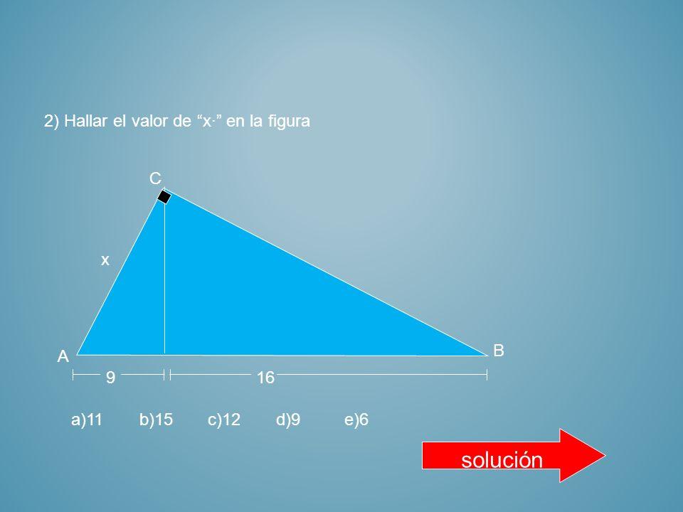 APLICA LO APRENDIDO 1) Hallar el valor de x· en la figura 10 A C B x 8 a)10b)8c)5d)6e)9 solución
