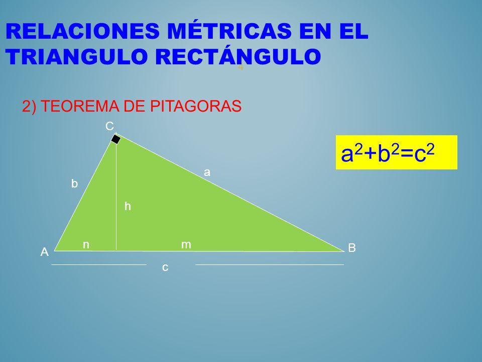 3 RELACIONES MÉTRICAS EN EL TRIANGULO RECTÁNGULO 1) TEOREMA DEL CATETO nm c A C B b a a 2 =mc b 2 =nc h