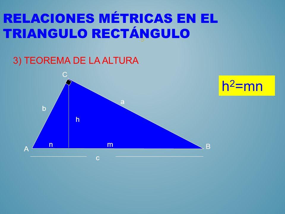 4 RELACIONES MÉTRICAS EN EL TRIANGULO RECTÁNGULO 2) TEOREMA DE PITAGORAS nm c A C B b a a 2 +b 2 =c 2 h