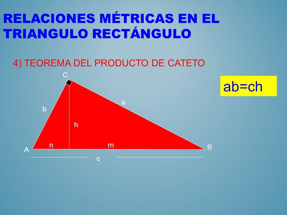 5 RELACIONES MÉTRICAS EN EL TRIANGULO RECTÁNGULO 3) TEOREMA DE LA ALTURA nm c A C B b a h 2 =mn h