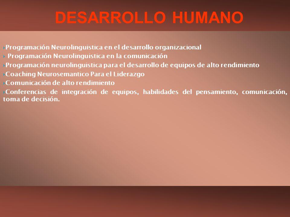 Programación Neurolinguistica en el desarrollo organizacional Programación Neurolinguistica en la comunicación Programación neurolinguistica para el d