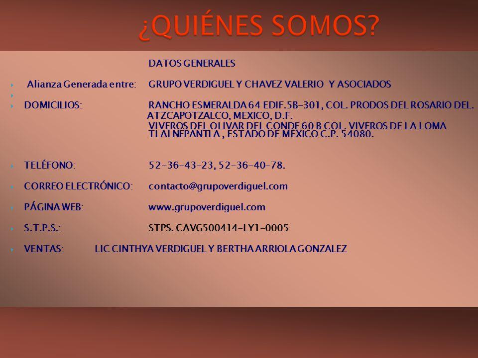 DATOS GENERALES Alianza Generada entre:GRUPO VERDIGUEL Y CHAVEZ VALERIO Y ASOCIADOS DOMICILIOS:RANCHO ESMERALDA 64 EDIF.5B-301, COL. PRODOS DEL ROSARI