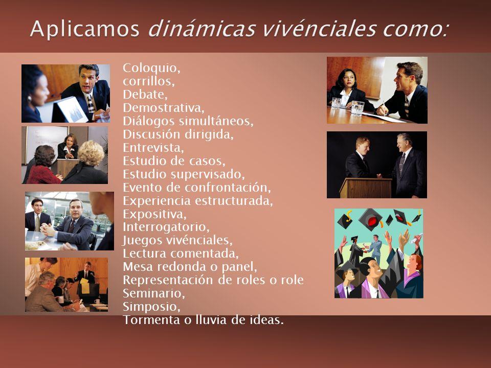 Coloquio, corrillos, Debate, Demostrativa, Diálogos simultáneos, Discusión dirigida, Entrevista, Estudio de casos, Estudio supervisado, Evento de conf