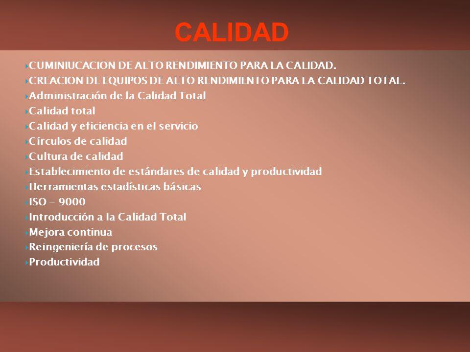 CUMINIUCACION DE ALTO RENDIMIENTO PARA LA CALIDAD. CREACION DE EQUIPOS DE ALTO RENDIMIENTO PARA LA CALIDAD TOTAL. Administración de la Calidad Total C